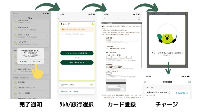 Vポイントアプリのチャージ手順