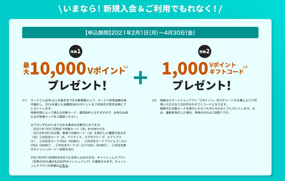 三井住友カードナンバーレス新規入会特典202102