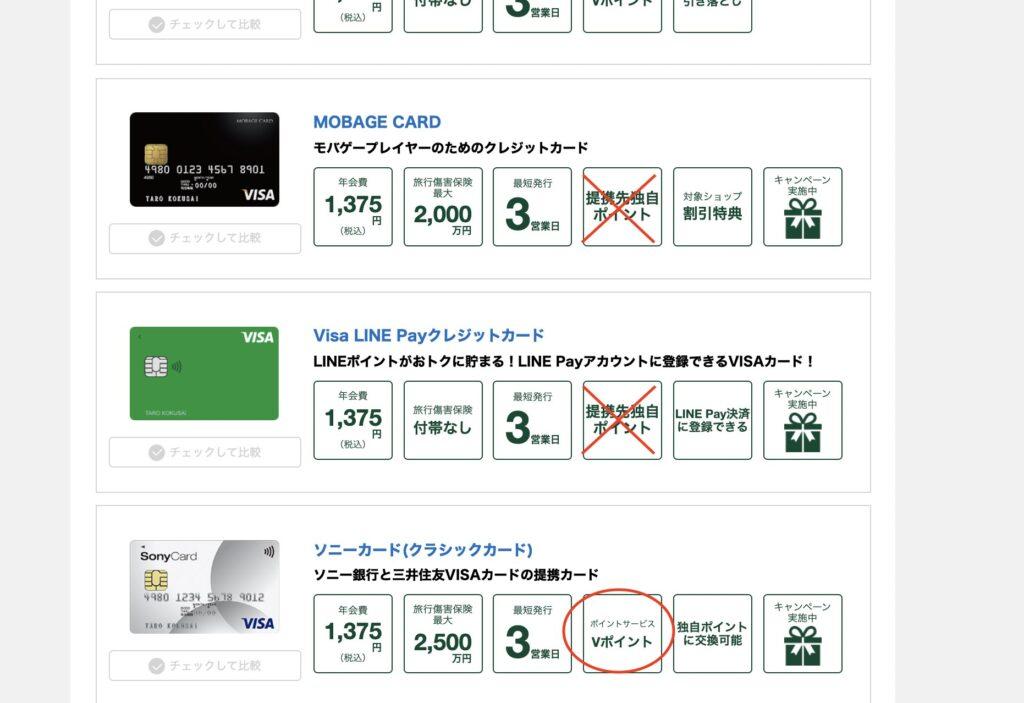 三井住友カード提携カードの例